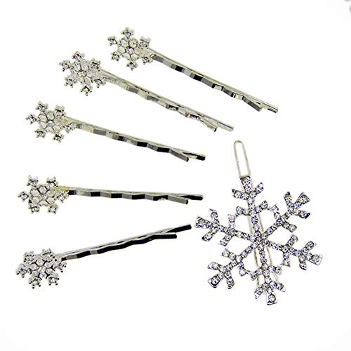 OUTLETISSIMO Set 4 Fermaglio FERMACAPELLI Fiocco Neve + Spilla Anna Elsa Cosplay P778