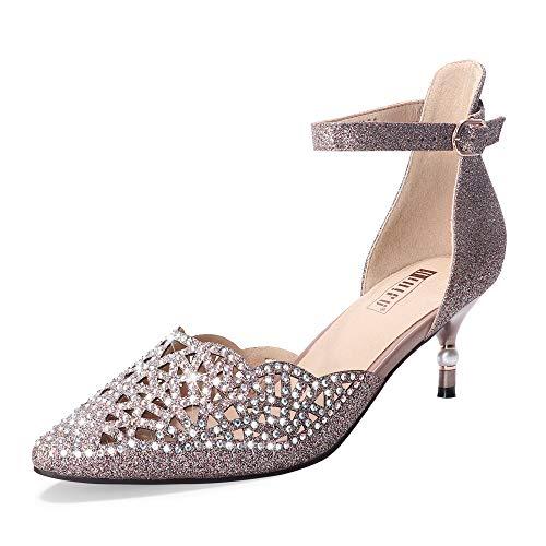 IDIFU Women's IN2 Candice Wedding Rhinestones Sequins Low Kitten Heels Pumps Dress Evening Shoes for Women Bridal Bride(7.5, Gun Glitter)