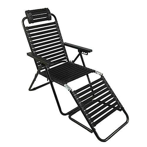 ZHANGYY Patio Lounge Chairs Sun Lounger, Adjustable Rubber Band Recliner Fixed Curve Headrest Office Outdoor Terrace Balcony Portable Sun Lounger Durable (Color : Black)