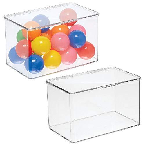 mDesign Juego de 2 Cajas de almacenaje con Tapa – Organizador de Juguetes apilable para la habitación de los niños – Práctico Guarda Juguetes Fabricado en plástico – Transparente
