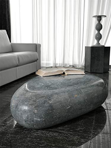 Stones Tavolino di pietra fossile FS/002 salotto, Grigio, 98x52x27 cm