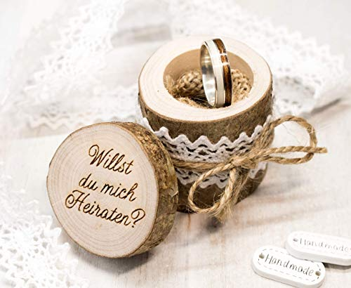 Verlobungs Ring Box Holz, Heiratsantrag Astholz Schachtel, Antrag Gravur, Verlobungsring, alternatives Ringkissen, Ringträgerkissen,