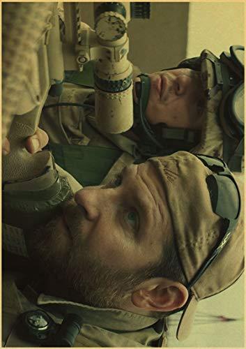 H/F American Sniper Bradley Cooper Movie Retro Canvas Poster DIY Estilo Nórdico Sala De Estar En Casa HD Art Deco Pintura Al Óleo Mural Sin Marco 50X60Cm 4934L