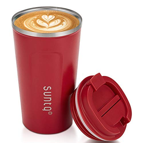 SUNTQ Kaffeebecher to go Thermo aus Edelstahl - Thermobecher Doppelwand Isoliert - Kaffeetasse Unterwegs Reisbecher mit Auslaufsicherem Deckel - Wiederverwendbar und Umweltfreundlich,Rot 510ml