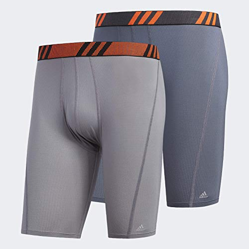 adidas Ropa Interior de Malla para Hombre (2 Unidades), Gris/Naranja Solar/Naranja/Naranja Solar, Grande