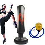 Creamoon Inflatable Kids Punching Bag Free Standing Boxing Bag Heavy Punching Bag Fitness Boxing Target Bag for Practicing Karate, Taekwondo, MMA Relieve Pent Up Energy in Kids and Adults,62.9'