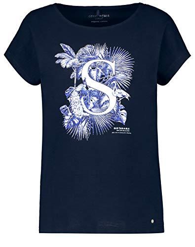 Gerry Weber Damen Shirt Mit Frontdruck Organic Cotton Figurumspielend Dark Navy 44