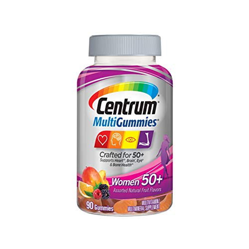 Centrum MultiGummies Gummy Multivitamin for Women 50 Plus, with Vitamin D3, B6 and B12, Multivitamin/Multimineral Supplement - 90 Count