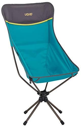 Uquip Three Sixty L Ultraleicht Campingstuhl mit hoher Rückenlehne, Tragetasche, 360° Drehgelenk, Blau