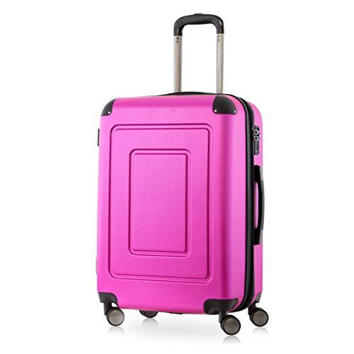 Happy Trolley - Lugano Hartschalen-Koffer Koffer Trolley Rollkoffer Reisekoffer Lugano, sehr leicht, TSA, 66 cm, 78L Pink