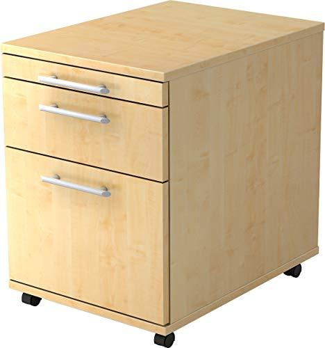 bümö® Rollcontainer in Ahorn mit 2 Schüben und Hängeregister Schublade | Bürocontainer aus Holz | Tischcontainer mit Rollen | Büro Container für Ihren Schreibtisch