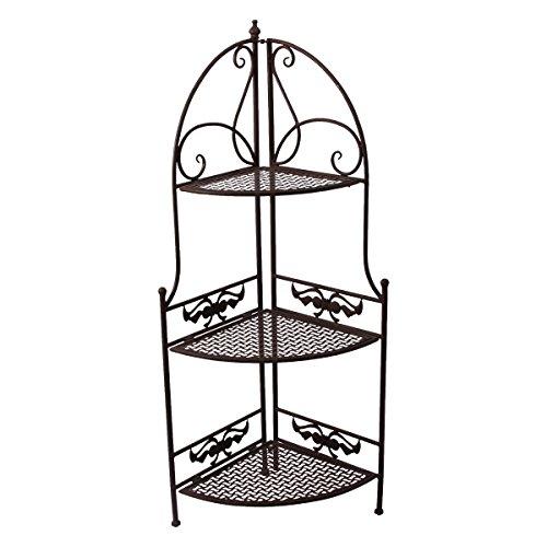 PrimoLiving Metall Garten Eckregal Regal im Antik-Look P-508 braun