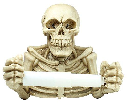 colourliving Totenkopf Skelett Abroller für Klopapierhalter Toilettenpapierhalter WC Abroller