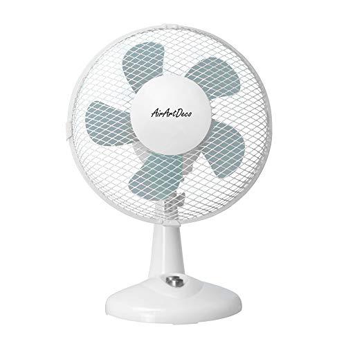 AirArtDeco Ventilador de Mesa de 23 cm, Oscilación de 80 grados, 2 Velocidades, , ideale per casa e ufficio - Bianco /Plata
