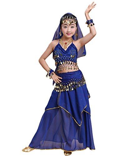 Anguang Mädchen Bauchtanz Rock Set Kinder Halloween Tanz Kostüm Saphir#2 M
