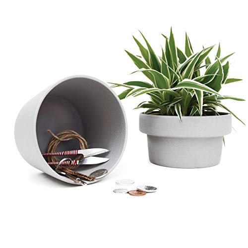 SUCK UK Hideaway Aufbewahrungsbox für Sukkulenten, Keramik, Grau