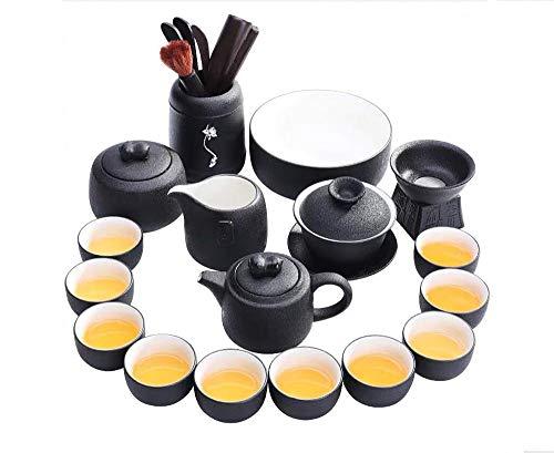 LUYIYI Juego de té, Oficina en casa Negocio Taza de té de Kung Fu Cubierta de cerámica Té de té Tetera Té Mar Regalo Empaquetado