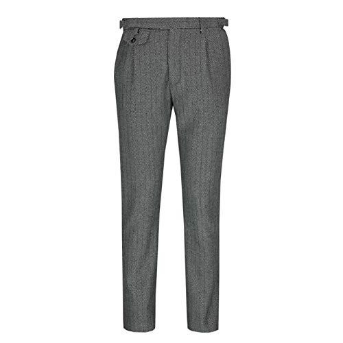 Xposed Männer Retro Peaky Blinder zweireihiger Tweed mit Fischgrätmuster Weste oder Hosen [TRS-NW-TYLER-LT-GRAU-32]