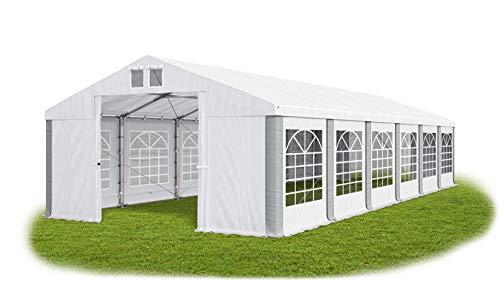 Partyzelt 6x12m wasserdicht weiß-grau Zelt 560g/m² PVC Plane ganzjährig stahlseile Gartenzelt Winter Plus SD