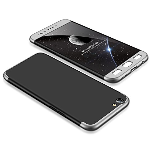 MEVIS Oppo F3 Plus Hülle,360 Grad hülle Fullbody case+(1*Hartglas Glasfilm Schutzfolie) 3 in 1 Ultra dünner pc Hardcase Scratch & Shockproof-Silber schwarz