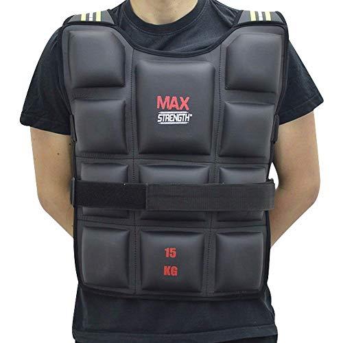 Max Strength Chalecos con peso para gimnasio, correr, fitness, deportes, entrenamiento y pérdida de peso, 10 kg, 15 kg, 20 kg, color negro, tamaño 10 kg