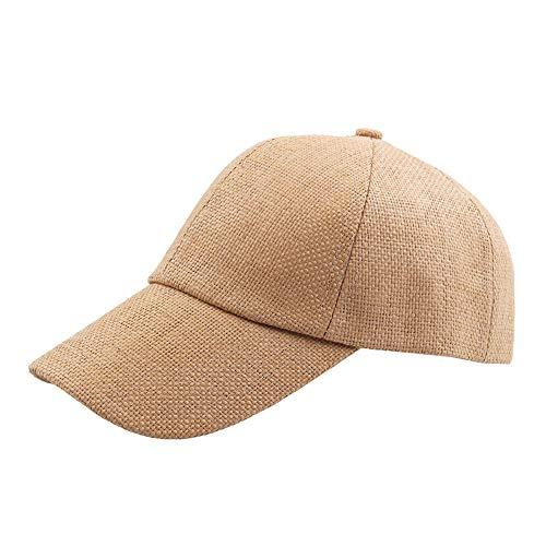 No-branded HOUJHUS Gorra de béisbol de Verano for Hombre, de Paja, Transpirable, de Color sólido, Curva, Deportiva, Gorra de béisbol Informal (Color : Caqui, Size : 56-60CM)