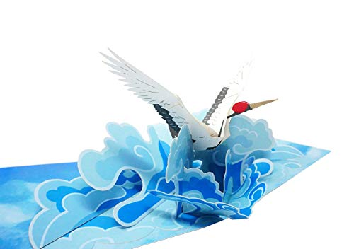 Crane Bird - 3D Pop Up Color Greeting Card for All Occasions Birthday, Love, Congrats, Good Luck, Anniversary, Get Well, Good Bye, Retirement, Thank You, Travel - Premium, Handcrafted