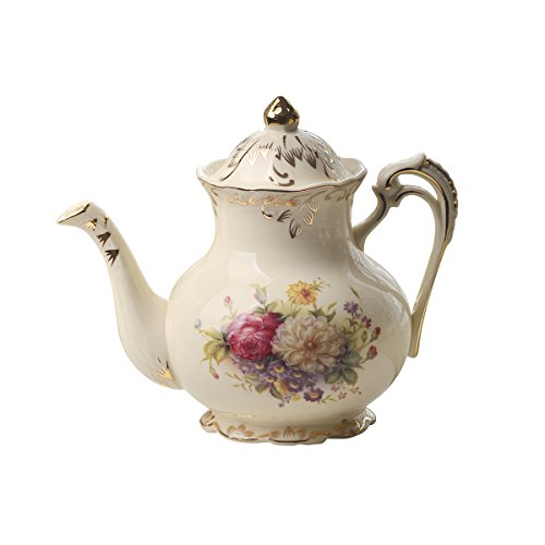 Teiera in ceramica con arbusti fioriti, in stile vintage, color avorio, 822 g