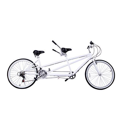HBNW Stadt Tandem-Fahrrad-26Inches Reitpaare Unterhaltung Universal-Wayfarer 18 Geschwindigkeit Bergreiten Doppel V Brake Reise Fahrrad,Weiß