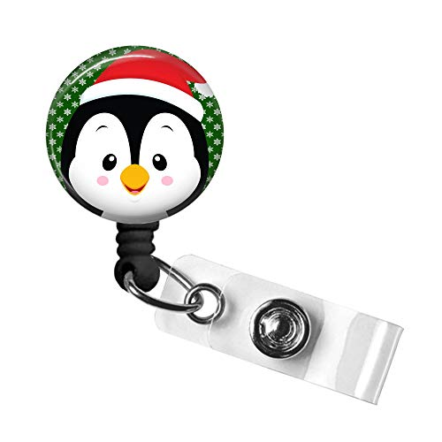 Christmas Badge Reel, Penguin Retractable ID Tag, Badge Pull, Badge Holder with Swivel Alligator Clip, 34in. Nylon Cord, Medical MD RN Nurse Office Employee, Santa Penguin