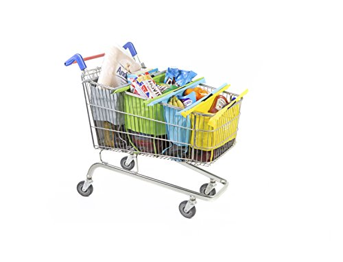 Trolley Bags - Reusable Eco Friendly Grocery Bags to Easily and Safely Bag your Groceries From Your Cart. Sized for Standard Grocery Carts. Reusable Cart Bags. (Metro Color, Standard Cart Size)