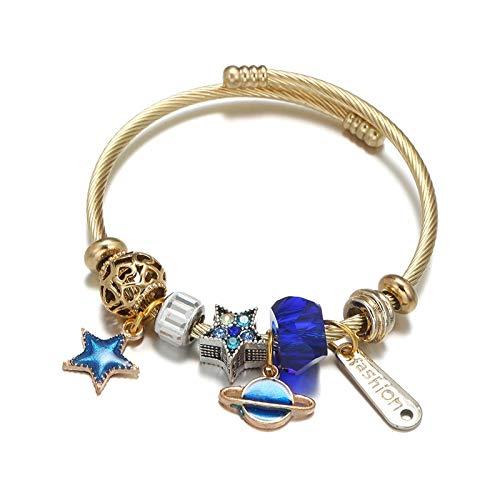 Elegante pulsera de elementos cósmicos estrella Planet Moon colgante abriendo joyas ajustables de cuerda de acero inoxidable Satélite