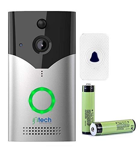 IFITech WiFi Video Door Bell Works Mobile App   Video Door Phone   Water Proof Aluminium Body   Silver