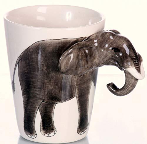 Elefant Kaffeetasse Elefantentasse tasse Keramik tasse handgefertigt , -Design 3 dimensional