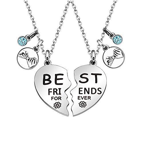 Best Friends Forever Collares de regalo para 2 colgantes de corazón dividido para niñas y mujeres
