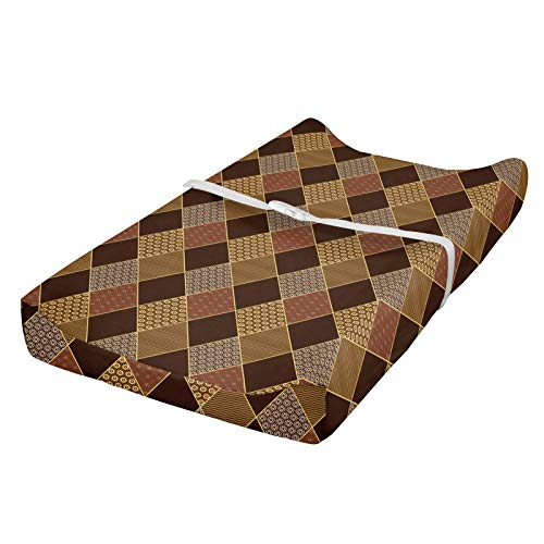 ABAKUHAUS marrón Cubierta del cambiador, Rombos clásica, Funda blanda para el cambiador de pañales con agujeros para la hebilla de seguridad, Brown pálido Canela
