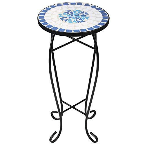 Display4top Taburete Floral,Mesa Redonda Decorativa para Exteriores,Mesa Auxiliar Redonda, Mesa de balcón con Mosaico de Piedra (Azul-Blanco)