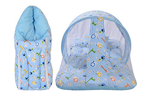 Babytoons New Born Baby Mosquito Net Bed and Baby Sleeping Bag- Blue Giraffe (0-6 Months))