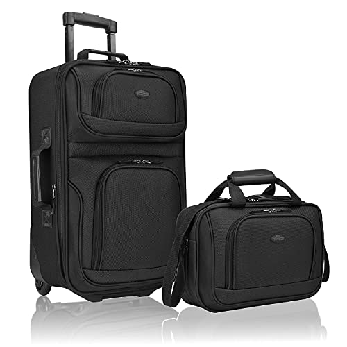 U.S. Traveler Rio Rugged Fabric Expandable Carry-On Luggage Set, Black, 2-Piece