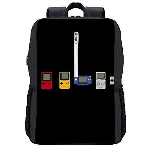 Game Boy Evolution Rucksack Daypack Bookbag Laptop Schultasche mit USB-Ladeanschluss