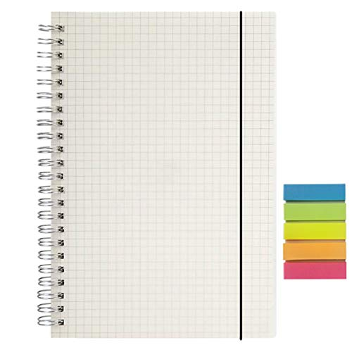 AOU Graph Paper Spiral Notebook Hardcover Grid Journal 8.3' x 5.7' A5 Note Pads with Squared Paper for Work and School, 80 Sheets/160 Pages, 1 Pad of Gift Sticky Notes Included