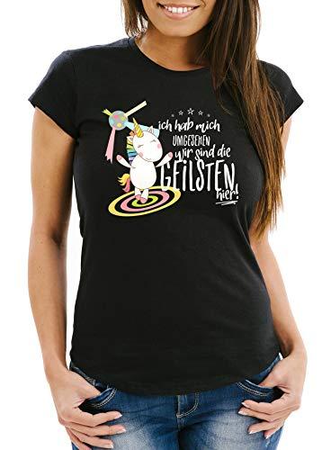 MoonWorks Damen T-Shirt Ich hab Mich umgesehen wir sind die geilsten Hier Einhorn Party Disco Slim Fit schwarz S
