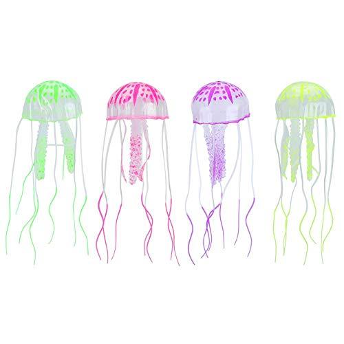 Zerodis 4PCS Medusas Brillantes, Acuario de simulación Medusas Artificiales Tanque de Peces de Silicona Flotante Medusas Fluorescentes para decoración de paisajismo de acuarios