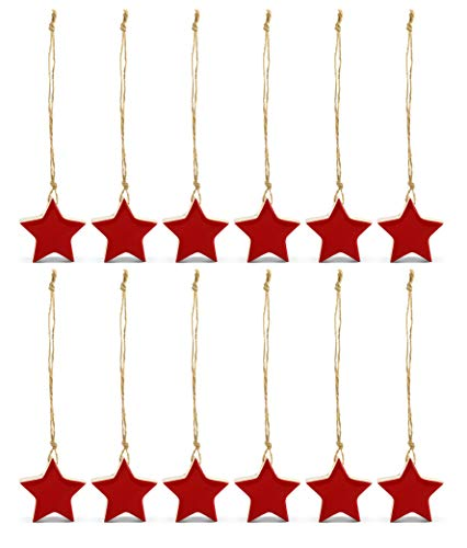 AuldHome Farmhouse Star Ornaments (12-Pack, Red); Wood with Red Enamel 2-Inch Star Christmas Decorations, Retro Vintage Enamelware Style