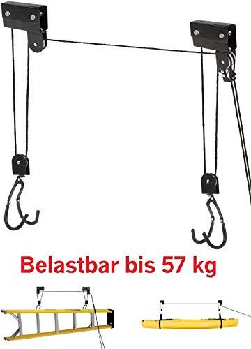 - Soporte de hasta 57kg por ejemplo para e-bike.Fácil de montar en la pared. - Manta de suspensión con función polipasto para cargas pesadas. - Fácil complemento de cuerda con polipasto y seguro anti-caída y freno de cuerda para una óptima conservac...