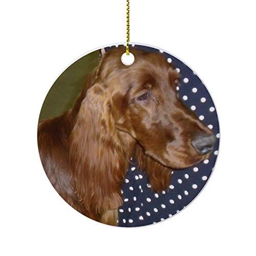 Christmas Ornaments, Irish Setter Round Ornament, Ceramic Keepsake Decoration Ornament