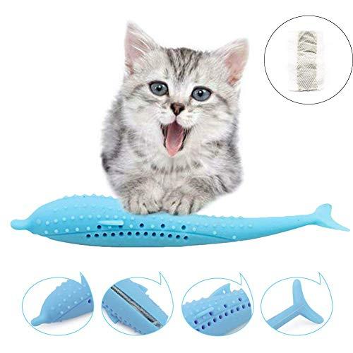 Cepillo de Dientes de Gato con Forma de Pez de Silicona,Juguete de Limpieza de Dientes con Hierba gatera,cepillo de dientes de gato interactivo,Silicona Palo de Molar para Mascotas (Azul)