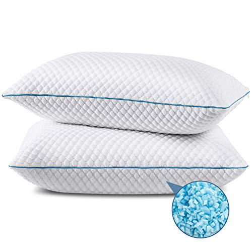 Shredded Memory Foam Pillows 2 Pack King Size 20 x 36 Inches, Cooling Bed Pillow for Sleeping Set of 2, Adjustable Gel Pillows for Stomach Side Back...