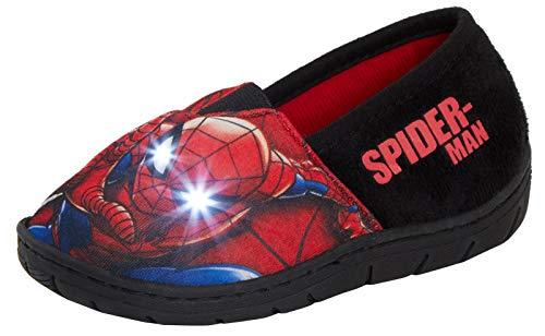 Marvel Spiderman Synthetische Hausschuhe mit Aufsteckverschluss und Blitzlichtern für Unisex-Kinder 13 UK Rot