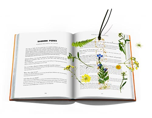 Bookmark Pretty Dried Flowers Plants Handmade Artsy Floral Book Mark Cute Novelty Transparent Resin Floral Simple with Leather Rope for Women Adult Kids Book Lovers (Green Plants)